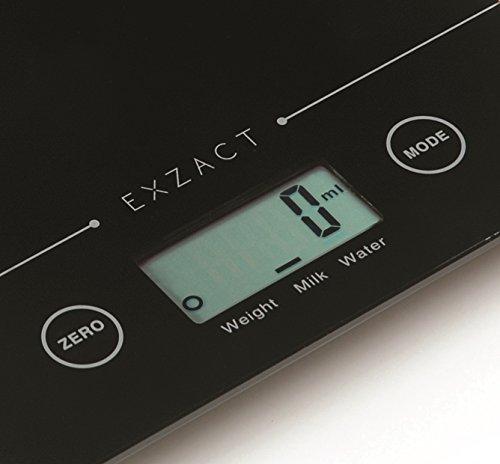 EXZACT Super Slim (1,4 cm) Balance de cuisine électronique - Plate-forme de verre - 5 kg / 11 lb (Noir)