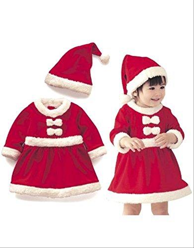 キッズ ベビー 子ども 女の子 用 サンタ サンタクロース  クリスマス コスプレ / コスチューム 『90cm 100cm 110cm 120cm 130cm 140cm 』 (110cm)