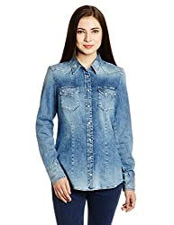 Gas Women's Button Down Shirt (74134WY22_Blue_Large)