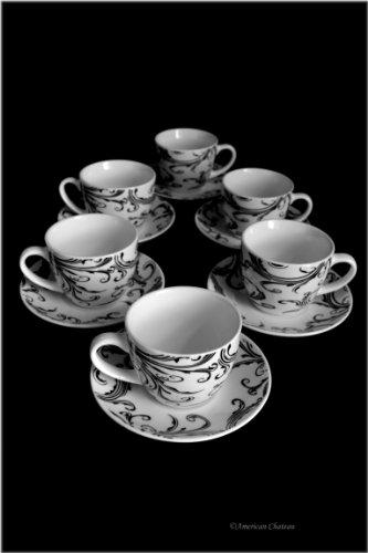 Set 6 Fine Bone China Black & White Demitasse Espresso Coffee Cups and Saucers