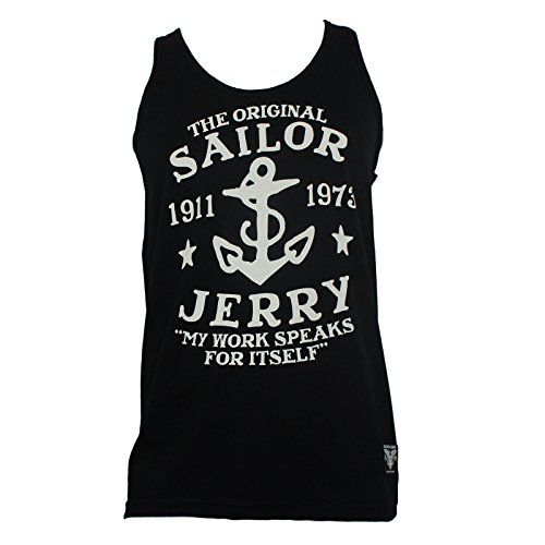 Sailor Jerry Tattoo Mens My work Speaks Logo Tank Top Shirt L (Sailor Jerrys Tank Top compare prices)