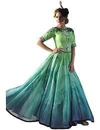 Designer Latest Dark Green Georette Digital Print Semi Stitched Gown