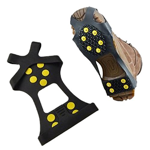Ezyoutdoor Crampons Nonskid Soles Iceclaw Winter Ice Slip Snow Shoe Cover Spikes Grips Cleats 10-Stud ,STABLicer OVERSHOES Shoes Ice Snow Cleats Footwear M