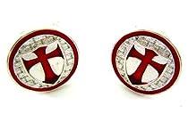 Silver Tone Crusader Knights Templar Red Cross Cufflinks