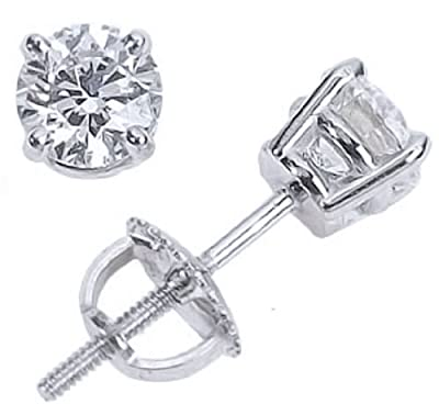 2 Carat GIA Certified Solitaire Diamond Stud Earrings Round Brilliant Shape 4 Prong Screw Back (D Color, IF Clarity, 2 ctw)