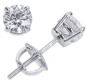 IGI Certified 1 1/2 Carat Round Brilliant Cut Diamond Stud Earrings 14K White Gold 4 Prong Screw Back (G-H Color SI2-I1 Clarity)