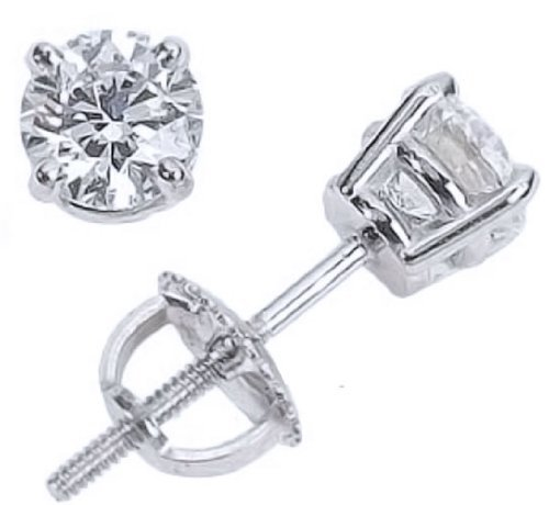 14-4-Carat-14K-White-Gold-Screw-Back-Diamond-Stud-Earrings-Value-Collection-I-J-I1-I2