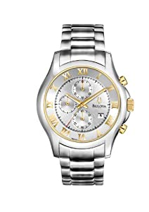 Bulova Dress Men's Quartz Watch with Silver Dial Chronograph Display and Silver Stainless Steel Bracelet 98B175