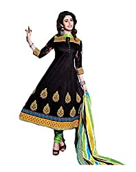 Pruthu Anarkali Dress Material, Cotton Printed Unstitched (pa_002_Black_Free Size)