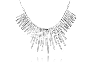 14K White Gold Matte-Finish Designer Necklace, Set with Gold Strands and Pave Set Diamonds Bars.
