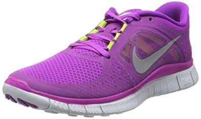 Nike Free Run+3 Womens Running Shoes 510643-500 (5.5 M US Women, Magenta/Reflective Silver-Pro Platinum-Violet)