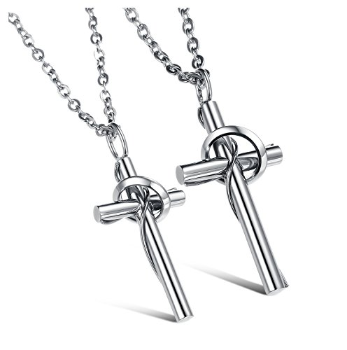 Couple Titanium Stainless Steel Necklace Set