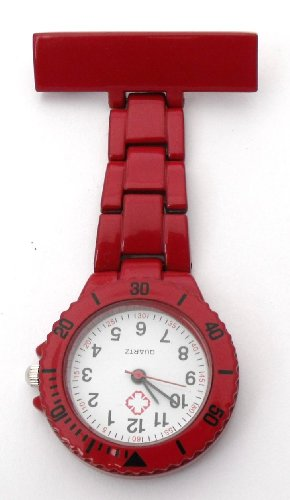 Nurses Metal Fob Watch - Rotating Bezel With Seconds Markers- Red (QBD)