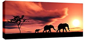LARGE ELEPHANTS AFRICAN SUNSET CANVAS PICTURE mounted and ready to hang 44 x 20 inches (113 x 52 cm)