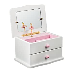 Buy white wooden musical jewelry box with drawer twirling for Amazon ballerina musical jewelry box