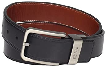 "Kenneth Cole REACTION Men's Brown Out 1-1/2"" Leather Reversible Belt, Brown/Black, 32"