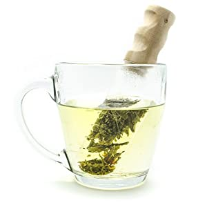 Glass Tea Infuser and Mixer - Premium Tea Strainer with Wood Handle Makes Infusing Tea Clean and Easy by Pure Enrichment