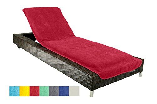 Schonbezug-fr-Gartenliege-Strandliegenauflage-Frottee-Schonbezug-100-Baumwolle-ca75x200-cm-Rot-Brandsseller