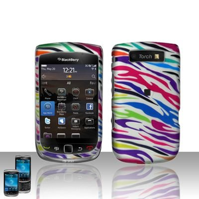 Blackberry 9800 Torch Rainbow Zebra Snap-on Phone Protector Hard Cover Case + Bonus 5.5 inch Baby Blue Phone Cleaning Cloth