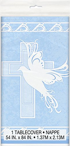 Baptism Party Supplies Table Cover Dove Cross Blue