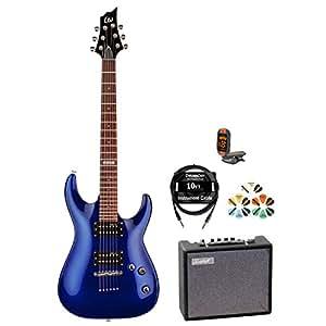 esp jb h 51 eb kit 4 electric blue electric guitar pack musical instruments. Black Bedroom Furniture Sets. Home Design Ideas