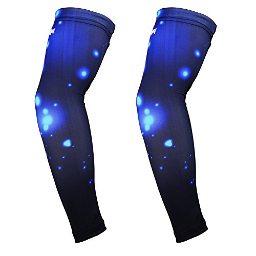 COOLOMG Pair Youth Adult Anti-slip UV Protection Compression Cooling Arm Sleeves Basketball Running Cycle Nebula...