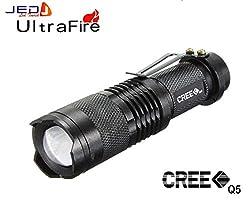 JED Pocket LED Mini CREE XR-E Q5 UltraFire Flashlight Torch Adjustable Zoom Beam. 3 Flash Mode. 7W, 400 Lumens.