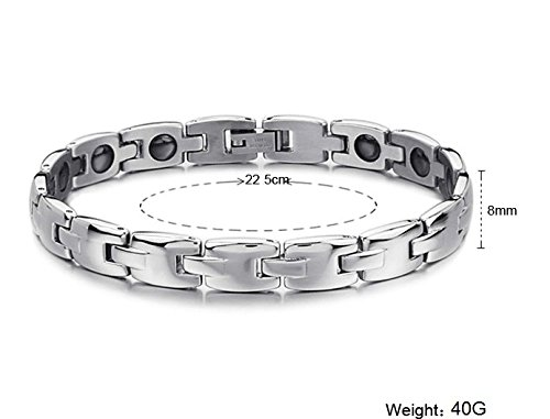 S.S®(Sportspirit) Elegent Tungsten Bracelet Titanium Germanium Magnetic Crystal Bracelet Wristband Band Balance Wristband Balance Energy (Male)