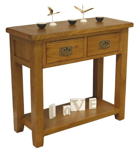 TUSCANY RANGE OAK HALLWAY TABLE TELEPHONE CONSOLE UNIT WITH 2 DRAWERS *SOLID WOOD*