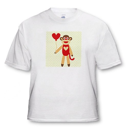 PS Fun Art - Sock Monkey With Heart Balloon - Adorable Animal Art - T-Shirts