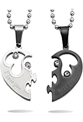 Stainless Steel Heart shape Matching Designed Valentines Day's Gift For Him or Her
