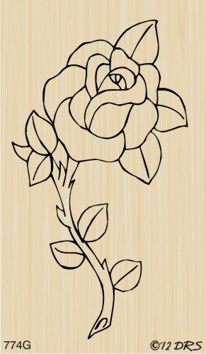Single Rose Rubber Stamp
