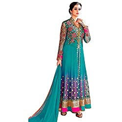 Green Georgette Embroidered Semi Stitched Anarkali Suit
