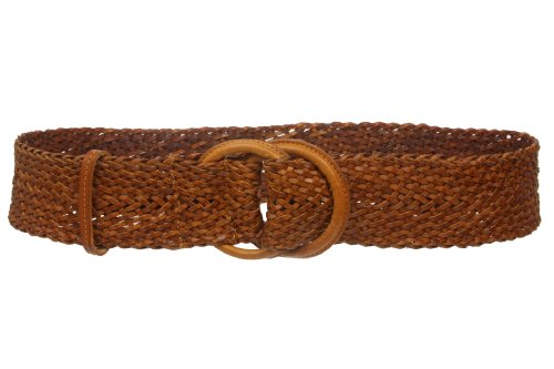 """2 1/4"""" (60mm) Self-covered Double Circle Wide Braided Leather Woven Round Belt Size: 32""""~35"""" Color: Tan"""