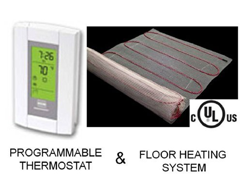 """20 Sqft Mat, Electric Radiant Floor Heat Heating System With Aube Digital Floor Sensing Thermostat 20 Square Foot Under Tile Heating Mat, Mat Is 20"""" Wide X 12' Long, 120 Volts Highest Quality Heating Cable, Twisted Pair For Zero Emf, Single Cold Lead, Ver"""
