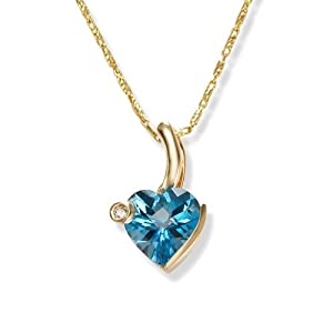 Facetz 100% Real Diamond And Blue Color Stone Pendant - Fsl367