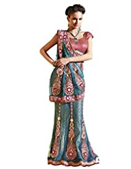 Anvi Creations Net Brocade Blue Embroidered Lehenga Saree (Blue_Free Size)