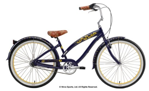  Nirve Sunflower Women's Three Speed Cruiser Bike (26-Inch Wheels, Navy Blue)