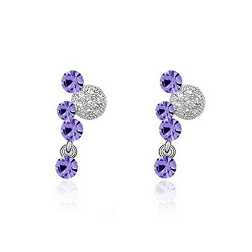 One Pair Mickey Mouse Style Swarovski Crystal Fashion Ear Ring Earring, Purple
