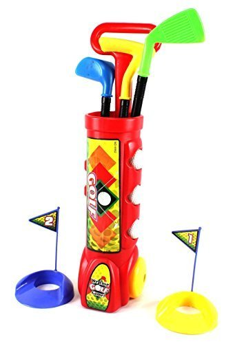 Deluxe Kid's Happy Golfer Toy Golf Set w/ 3 Golf Balls, 3 Types of Clubs, & 2 Practice Holes by Albert Toys