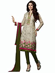 DnVeens Women's Chanderi Embroidered Straight Dress Material