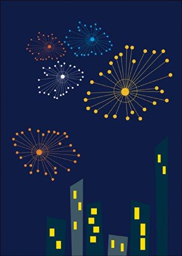 Verschicken Sie knallige Silvester Glückwünsche aus der Großstadt mit dieser Feuerwerks Karte. • auch zum direkt Versenden mit ihrem persönlichen Text als Einleger.