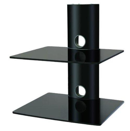 Designer Habitat - 2x Floating Black Glass Shelves Mount Bracket for DVD/Blu-Ray Player, Satellite/Cable Box, Games Console - Black