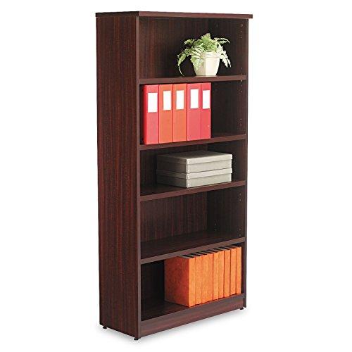 Alera Valencia Series Bookcase/Storage Cabinet, 5 Shelves, 32 W by 14 1/2 D by 66 H, Mahogany Storage Mahogany 5 Shelf Bookcase