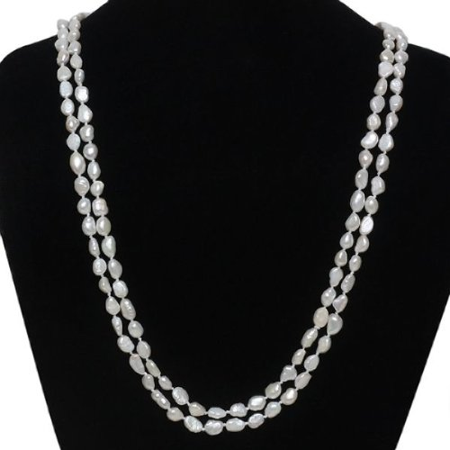 Genuine Freshwater Baroque Pearl Endless Necklace 60 Inch
