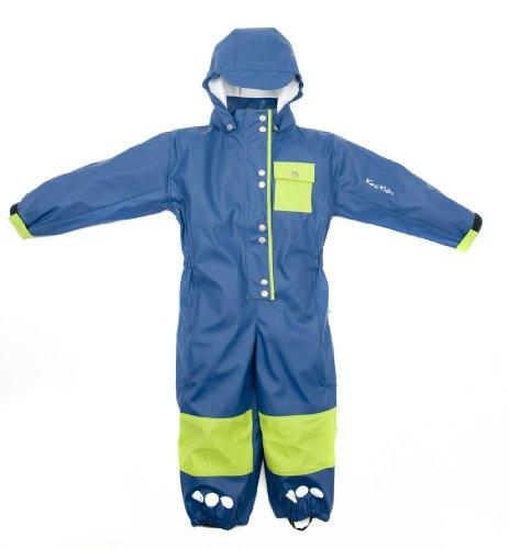 Kozi Kidz Children's Unlined Rain Overalls - Navy/Lime