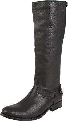 FRYE Women's Melissa Button Back Zip Knee-High Boot,Black Antique Soft Full Grain,5.5 M US
