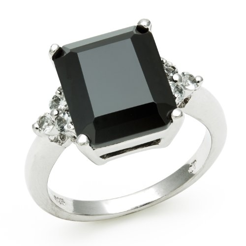 Sterling Silver Ring with Emerald Cut Onyx and White Topaz Gemstones, Free Shipping and Gift Box