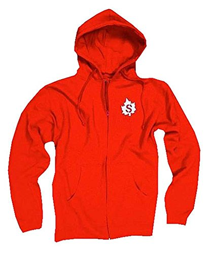 Sauce Hockey Men's Hoodie Canada Maple Leaf Zip-Up Hooded Sweatshirt Red S000212 (Canada Zip Up Hoodie compare prices)