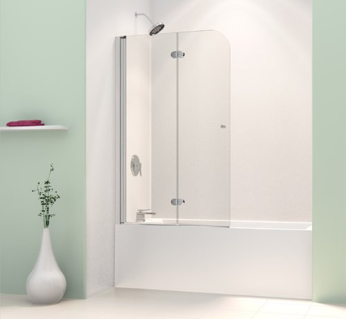 Discover Bargain DreamLine SHDR-3636580-01 AquaFold 36-Inch Frameless Hinged Tub Door, Chrome Finish